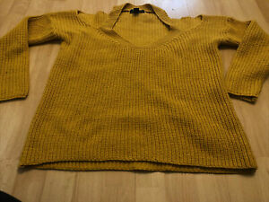 New Look Petite Chunky Knit Jumper Cold Shoulder  Size 6 Mustard