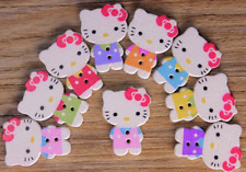30PCs Wood Sewing Button Scrapbooking Hello Kitty Mixed Two Holes 25 x 20mm Cute