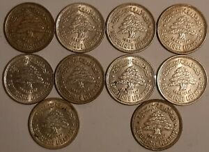 LEBANON / 1952 50 Silver Piastres,Lot of 10 Coins !!