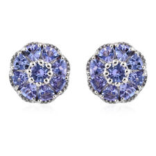 Tanzanite Platinum over Sterling Silver Stud Earrings TGW 3.20 cts