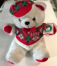 1990 Wal Mart Christmas Teddy bear with vest, still has tags