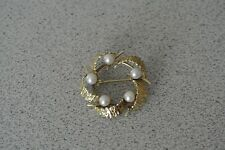 Vintage Antique 14K 585 Yellow Gold 5 Pearls Round Wreath Brooch Pin