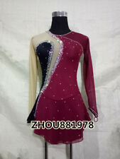New Women Ice Skating Dress For Competition Spandex Professional burgundy