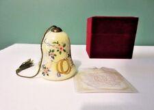 "New NE' QWA ART Reversed Hand Painted Glass Bell Ornament ""RINGS OF LOVE"" - COA"