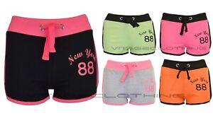 New Womens New York 88 Print Draw Cord Mini Tie Gym Casual Summer Hotpant Shorts