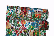Women Hand Block Print Kantha Quilt Palm Tree bed cover throw Indian Bedspread