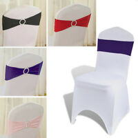 50 set Chair Cover Spandex Stretch Sash Bow Wedding Buckle Slider Sashes Banquet