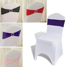50Pc/Set Spandex Chair Sash Bow Band Wedding Sashes Buckle Slider Banquet