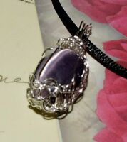 STUNNING HAND-CRAFTED SILVER WIRE-WRAPPED PURPLE TIGER'S EYE CRYSTAL PENDANT