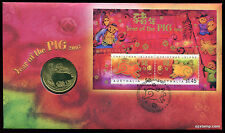 2007 Chinese New Year of the Pig PNC Coin Stamp Australia