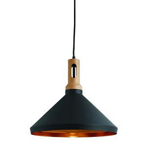 Cone Black Ceiling Pendant Light Fitting Home Office Lighting Gold Inner Shade
