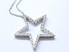 Fino Star Diamante Colgante + Cadena Oro Blanco 14kt .25ct 45.7cm