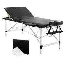 Livemor 3 Fold Portable Aluminium Massage Table - Black