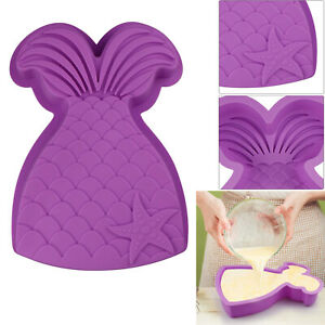 Large Silicone Mermaid Tail Cake Baking Mold Muffin Bakeware Pan Chocolate Mould