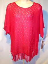 NEW $58 Tag NY COLLECTION Dolman Sleeve XL Sweater FRINGE BOTTOM Calypso Red Org