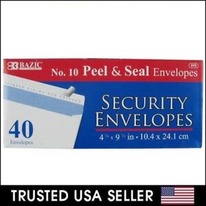 """Security Envelopes Peel & Self-Seal White Letter Mailing No.10 4-1/8"""" x 9-1/2"""""""