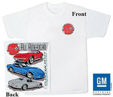 Corvette C-3 All America White tee Shirt with Front C3 Logo and Graphics on Back