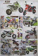 """KAWASAKI MOTORCYCLES POSTER """"19 KSR MODELS"""" - JAPANESE MOTORBIKES & CYCLES"""