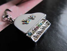 Cute Japanese White Piano Real Silver Crystal Cellphone Charm