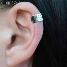 NEW SILVER EAR CUFF HELIX CARTILAGE CLIP ON WRAP EARRING ROCK EMO PUNK GOTHIC UK