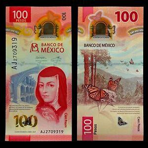 2020 MEXICO 100 PESOS POLYMER P-NEW UNC> > > >JUANA INES DE LA CRUZ BUTTERFLY NR
