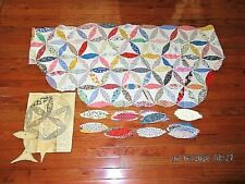 VTG JACOBS COAT FEED SACK FABRIC+ PARTIAL QUILT TOP +125 EXTRA PIECE AND PATTERN