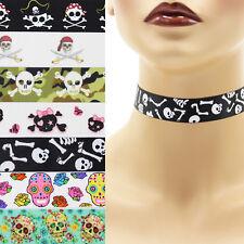 Skulls Choker 7/8 inch Custom Necklace 22 mm 23 mm Halloween Crossbones Sugar +