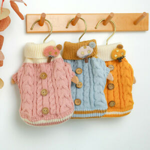 Pet Dog Puppy Cat Sweater Clothes Classic Button Sweater Winter Warm Dogs Coat