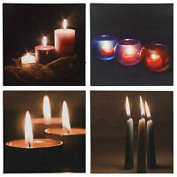 LED Light Up Flickering Candles Wall Art Canvas Hanging Picture Mounted Gift NEW