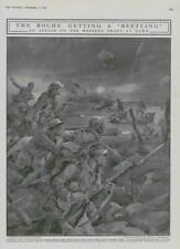 1916 Antique Print - WORLD WAR Boche Beetling Western Front Machine Gun (298)