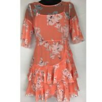 French Connection Womens Skater Dress Orange Floral Sheer Mini Jewel Neck 6 New