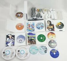 Huge Nintendo Wii White Console BUNDLE/LOT+11 Games/Controllers/Nunchuks/Wheels+