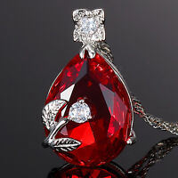 Sarotta Jewelry Fashion Pear Cut Red Ruby Fine Clear Topaz Pendant Necklace Nr