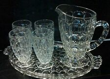 Vtg Pitcher & Juice Glass Set (6pcs) * Clear Thumbprint Honeycomb * Jeanette