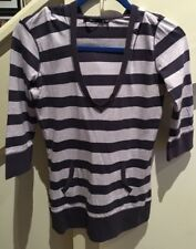 Sportsgirl Hooded Striped Top Size Small 3/4 Sleeve