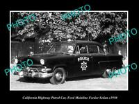 OLD POSTCARD SIZE PHOTO OF CALIFORNIA POLICE FORD MAINLINE PATROL CAR c1950