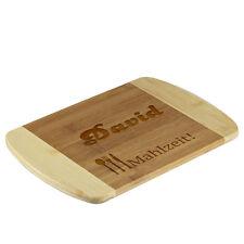 la tabla de cortar bambú BICOLOR incl. Grabado motivo COMIDA
