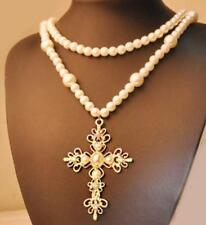 Betsey Johnson Charm Jewelry pendant pearl Double layer cross sweater necklaces
