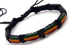 Rasta Friendship Cotton Bracelet Surfer Bob Marley Reggae With Ceramic Button