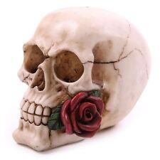 Calavera y rojo rosa tallado Crema gothic esqueleto Adorno De Resina 11.5cm