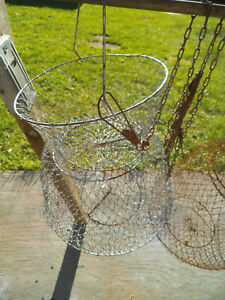 4 Vintage~Metal Wire~Keeper Net~Live Bait~Basket~Cage~Collapsible~Fish Fishing