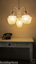 Sölken Leuchten Deckenlampe Hänge Lampe Luster Eis Glas 6-armig  '60/'70er J