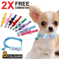 2Pc Dog Cat Pet Bowknot Cute Bow Tie Bell Adjustable Puppy Kitten Necktie Collar