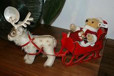 Steiff replica attualmente slitta con Renne e Babbo Natale Santa Claus, Sleigh, Reindeer