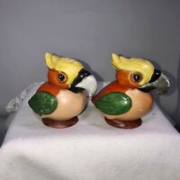 Vintage Germany Porcelain Toucan Bird Germany Salt And Pepper Shakers Set Orange
