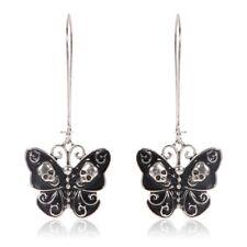Skull Enameled Butterfly Drop Punk Gothic Dangle Earring Jewelry For Women