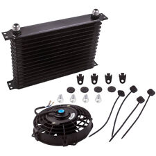 "New Listing15 Row 10An Engine Transmission Oil Cooler + 7"" Electric Fan Kit Universal new"