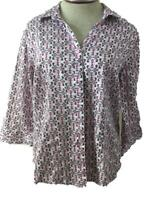 Dana Buchman blouse top size XL purple pink 3/4 sleeve button down collared