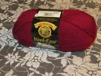 NEW LION BRAND WOOL-EASE Cranberry Red Yarn Medium Acrylic Wool 85g Turkey