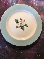 Homer Laughlin Lifetime China Co Semi Vitreous Turquoise Magnolia Salad Plate